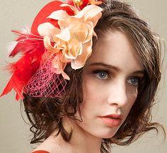 Bridesmaid Fascinator Coral Salmon Wedding Hat HEART FOR 2. $34.00, via Etsy.