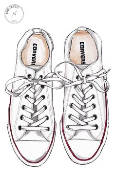 Good Objects - Converse all star white sneakers - watercolor illustration Converse Drawing, Sneakers Sketch, Converse All Star White, Converse Wedding Shoes, Image Svg, Buch Design, Watercolor Illustration, Shoe Illustration, Illustrations