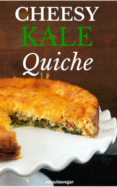 Cheesy Kale Quiche-Nicht ganz ein Veganer - food id like to try - Breakfast Veggie Recipes, Lunch Recipes, Low Carb Recipes, Breakfast Recipes, Cooking Recipes, Healthy Recipes, Breakfast Bites, Healthy Cheat Meals, Healthy Weight