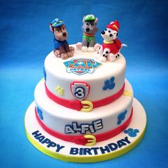 Paw Patrol two tier with handmade fondant characters