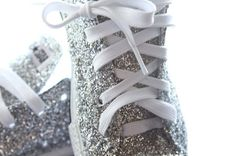 Hand Made Silver GLITTER Converse with Swavroski by AllThingsGlam, $115.00