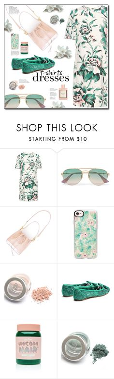 """""""Pink and green"""" by nineseventyseven ❤ liked on Polyvore featuring Burberry, Gucci, Casetify, Salvatore Ferragamo, Lime Crime, tshirtdresses and 60secondstyle"""