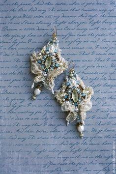 "Earrings handmade. Earrings ""Jonquil matt"". Daria Berezkin. Fair Masters. Embroidery handmade earrings with lace, beads Japanese"