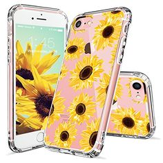 iPhone 7 Case, iPhone 7 Case for Women, MOSNOVO Floral Flower Sunflower Pattern Clear Design Transparent Plastic Hard Back Case with TPU Bumper Protective Case Cover for iPhone 7 (4.7 Inch)