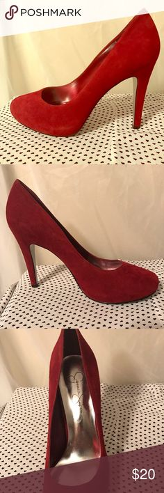 Jessica Simpson red suede heels pumps 8.5 Brand new. I have not had a chance to wear them. My loss your gain Jessica Simpson Shoes Heels