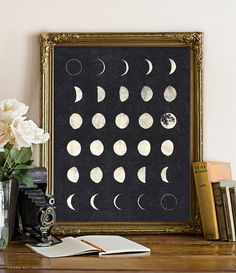Moon Phases - 8x10 inches on A4 (Black and White) Moon poster, Moon print, Moon chart, galaxy, wall art print.