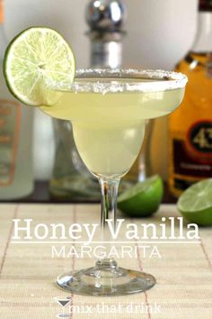 The Honey Vanilla Margarita adds a hint of - you guessed it - honey and vanilla to your traditional margarita flavors. It uses Licor 43, a Spanish liqueur that tastes like honey and vanilla with citrus.