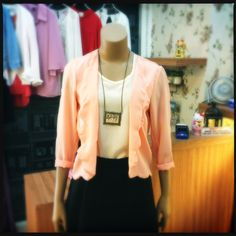 Style up with this peach color chiffon blazer