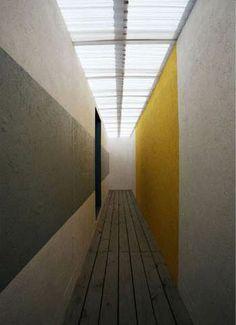 Block colour hallway light, skylight architecture