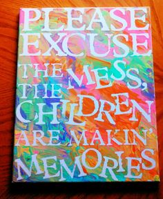 I bought canvas from hobby lobby. Picked up some cheap 52¢ acrylic paint in pink, orange, yellow, green, and purple from WalMart. I used my Cricut to cut out letters onto some sticker paper i bought from Joann Fabrics. Peeled it and stuck it on the canvas. I let my son paint over the top. Let it dry and peeled it off. It got kinda sloppy underneath the letters from the stickers not sticking good enough or my son painted over it too thick. Either way, it being messy proved my point :) this…
