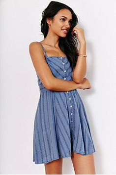 Kimchi Blue Abby Gauze Button-Down Fit + Flare Dress Quote