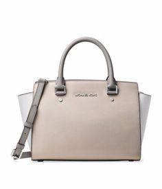 NWT MICHAEL Michael Kors Selma Gray Colorblock Leather Medium Satchel Bag New #MichaelKors #Satchel