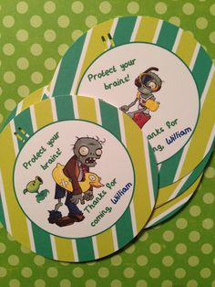 Set of 12 Goodie Bag Tags Plants vs. Zombies by mommywisdom Zombie Birthday Parties, Zombie Party, 7th Birthday, Birthday Ideas, Plant Zombie, Plants Vs Zombies, Personalized Favors, Happy Birthday Banners, Party Bags