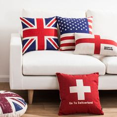 Stars & Stripes Union Jack Flag Pattern Linen Pillow Case Throw Cushion Cover #Unbranded