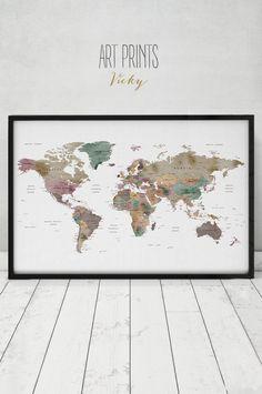 Große Welt Karte Poster Detailkarte Welt print Reise-Karte