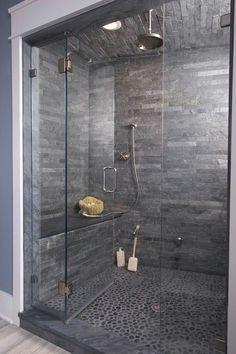 Top best modern shower design ideas walk into luxury in remodel dark grey pebble floor bathroom . how to design a walk in shower remodel Bad Inspiration, Bathroom Inspiration, Bathroom Ideas, Bathroom Showers, Tile Showers, Bathroom Remodeling, Bathroom Designs, Remodeling Ideas, Shower Rooms