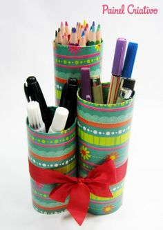 porta lapis com tubos de papelao www.inspiresuafesta.com