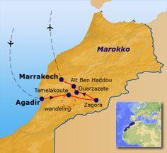 Routekaart Marokko Familiereis