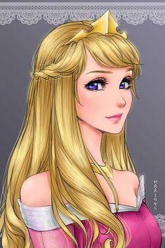 Princesas de Disney al estilo del anime japones