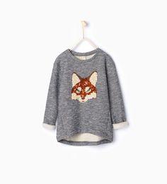 ZARA - BARN - Sweatshirt med räv och paljetter