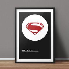 Man of Steel Poster, Movie Poster, Minimalist Poster, Flat Poster Design, Clean Poster Design, Digital Printable Poster