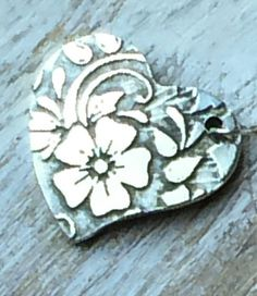 Handmade Vintage Floral Heart Charm -  would make a special and unique addition to your charm bracelet. Can be personalized.  Artisan Jewelry.