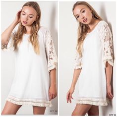 🍂Boho Woven floral shift dress Super cute woven floral shift dress! Color is off white. Gorgeous lace crochet floral detail on sleeves. I'm obsessed! 😍  PRICE FIRM UNLESS BUNDLED. No trades Dresses