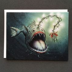 Angler Fish Christmas Card with a crazy unique sense of humor. Guaranteed be displayed long past Christmas. Funny Christmas Cards, Christmas Humor, Online Art Store, Fisherman Gifts, Dark Christmas, Angler Fish, Black Artwork, Hand Illustration, Paper Texture