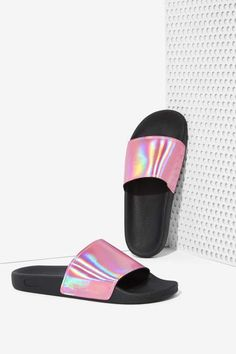 Sixty Seven Ariel Slides - Pink Hologram - Shoes Cute Sandals, Sport Sandals, Slide Sandals, Heeled Boots, Shoe Boots, Shoes Heels, American Apparel, Pink Slides, Grunge
