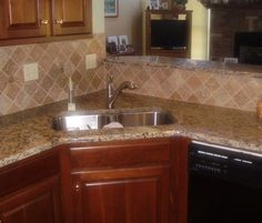 Santa Cecilia Granite Backsplash Ideas | Santa Cecelia Granite with Full Travertine Backsplash