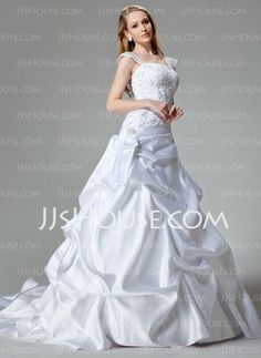 Wedding Dresses - $246.99 - A-Line/Princess Strapless Chapel Train Satin Wedding Dresses With Lace  Beadwork (002000436) http://jjshouse.com/A-line-Princess-Strapless-Chapel-Train-Satin-Wedding-Dresses-With-Lace--Beadwork-002000436-g436