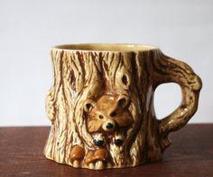 Vintage Ceramic Tree Stump Mug with Hiding Animal by TheRoughGem