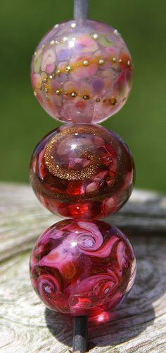 Pink Pinker Pinkest Handmade Lampworked Glass Bead by ninaeagle, $21.50