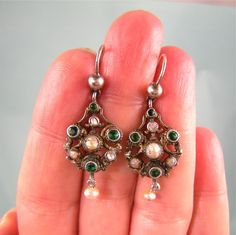 Antique Austro-Hungarian Emerald and Pearl Earrings