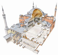 The Hagia Sophia by architect Ruffino was built in Istanbul, Turkey in It was then remodeled in Byzantine Architecture, Cathedral Architecture, Sacred Architecture, Historical Architecture, Architecture Details, Hagia Sophia, Sainte Sophie, Architecture Concept Drawings, Romanesque