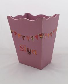 Personalised Waste Paper Basket With Bunting By DaisyBelleShop