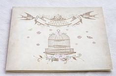 Vintage Birdcage wedding invitations