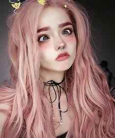 lace wig human hair long hair pink wig in 2019 Bride Makeup, Girls Makeup, Aesthetic Makeup, Aesthetic Girl, Cute Makeup, Makeup Looks, 70s Makeup, Hair Makeup, Makeup Art