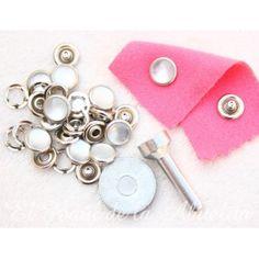 Kit 10 broches presión metálicos perla 10mm