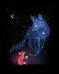 Celestial Art Print By Freeminds *More Things & Stuff Animal Drawings, Art Drawings, Drawing Animals, Art Fox, Fuchs Illustration, Digital Illustration, Moon Illustration, Art Mignon, Ouvrages D'art