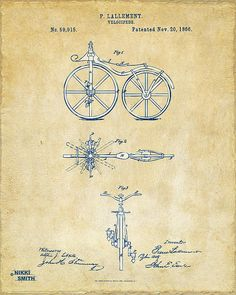 Digital Art - Vintage 1866 Velocipede Bicycle Patent Artwork by Nikki Marie Smith , Chalkboard Print, Star Wars Prints, Patent Drawing, Silk Screen Printing, Vintage Bicycles, Patent Prints, Sign Quotes, Compass Tattoo, Great Gifts