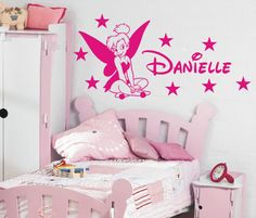 we have this in green, its lush.  Tinkerbell Personalised girls bedroom wall sticker kit, loads of colours | eBay