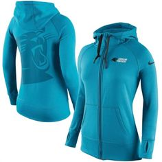 Carolina Panthers Womens Blue Warpspeed Nike Full-Zip Hoodie