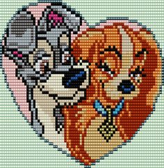 Lady and the Tramp Square Grid Pattern 74 Columns X 59 Rows (Pattern by me, Man in the Book) Bead Loom Patterns, Perler Patterns, Beading Patterns, Embroidery Patterns, Cross Stitch Designs, Cross Stitch Patterns, Perler Bead Disney, Crochet Disney, Pixel Art