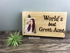 Worlds best Aunt, Aunt picture frame, Aunt gift, Personalized picture frame, Custom picture frame, Gifts for aunts, Wood photo sign