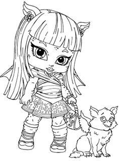 monster high rochelle gregory goyle was little coloring pages - Monster High Chibi Coloring Pages