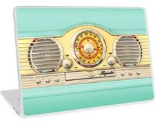 Blue teal retro classic old radio Laptop Skins #laptop #skin #Color #Vintage #Macro #Retro #Majestic #Radio #Communicator #blueteal #Tape #Steampunk #Robot #Antique #Chrome #casette