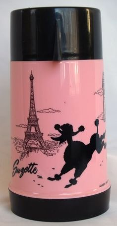 Hot pink and black vintage vacuum flask with Eiffel tour and poodle scene