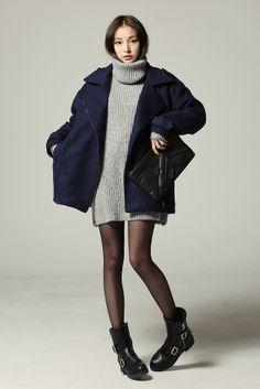Big sweater dress + boxy coat + boots