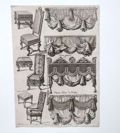Daniel Marot (French Dutch Huguenot), Upholstered Furniture: chair designs, etching, c. 1700   Marot was the chief Designer for King William II and Queen Mary II of England